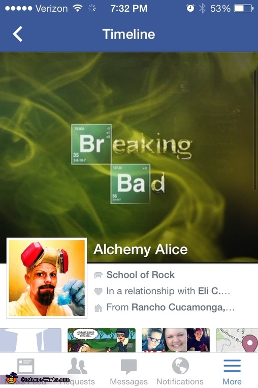 My Facebook page on Halloween, Heisenberg Costume
