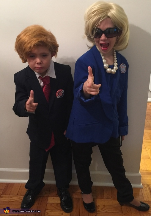 With brother Trump, Hillary Clinton Costume