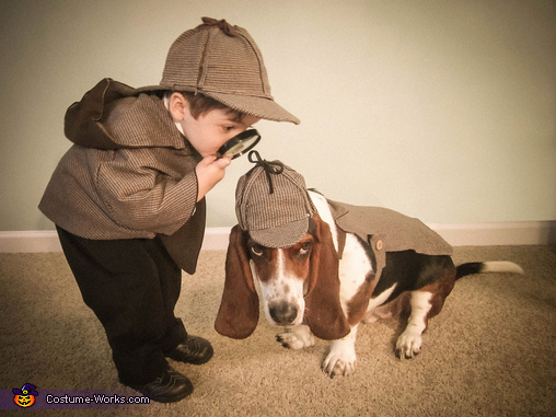 Holmes and Watson - Homemade costumes for babies