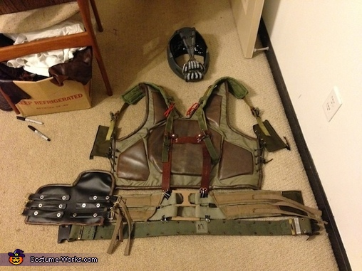 All of the items laid out. , Homemade Bane Costume