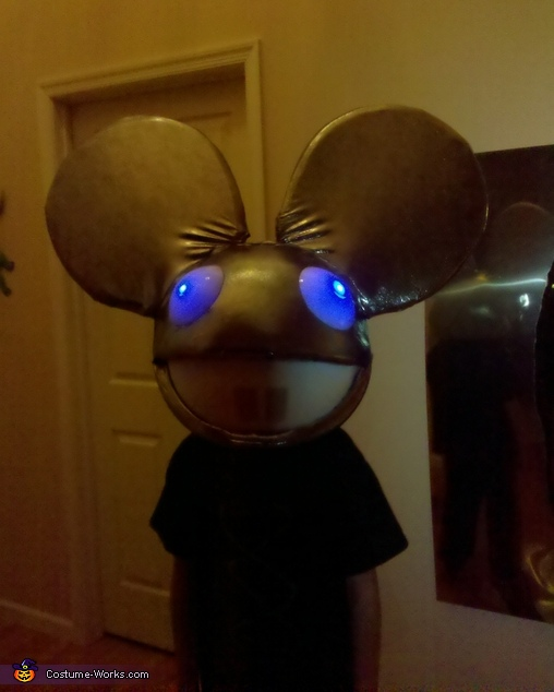 Jake as Deadmau5 with light up eyes, Deadmau5 Costume