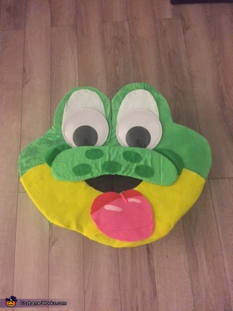 "Completed head before adding details and the hat, Honey Smacks ""Dig 'Em Frog"" Costume"