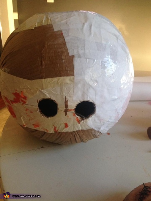 Sam mask made with papel mache, Horror Movies Costume