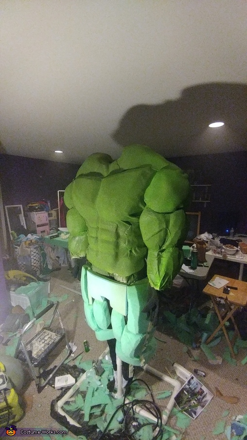 Hulk Costume beginning to paint and take form, Hulk Costume