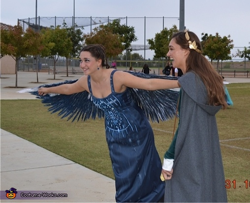 Kendall Veronick & sister Taylor Veronick having fun, Hunger Games Mockingjay Costume