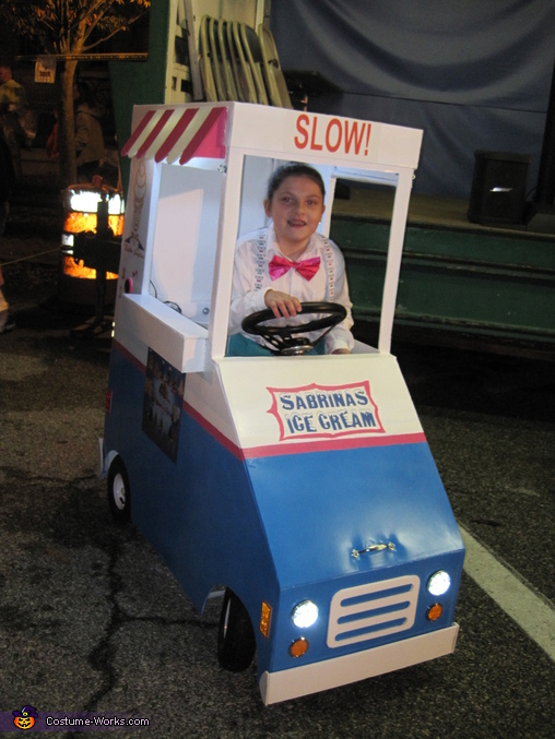 at night time with the lights on, Ice-Cream Truck Costume