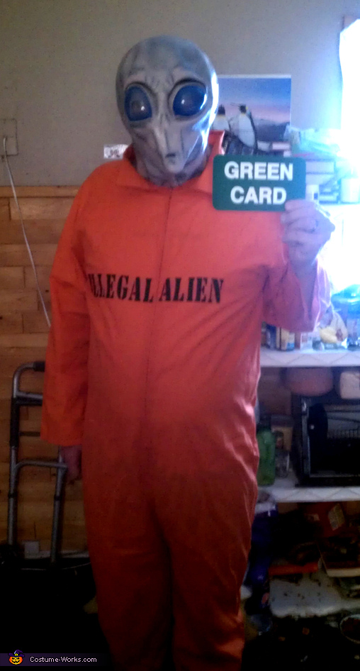 Space Alien with Green Card Costume