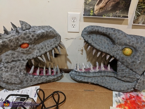 Painted Heads, Indominus Rex and Velociraptor Costume