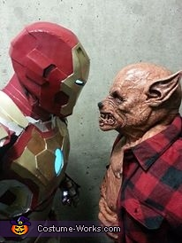Staring competition with the wolf man (note Iron Man doesn't blink), Iron Man Costume