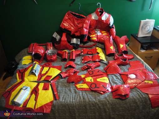 Costume components laid out, Iron Man Mark VII Costume
