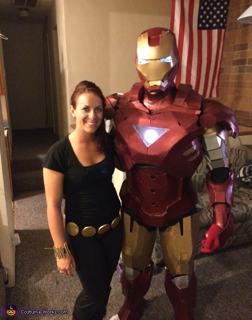 with Black Widow, Iron Man Mk VI Costume