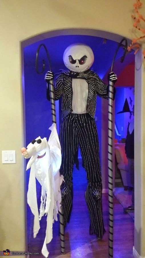 Family halloween party with Zero the Dog, Jack Skellington Costume