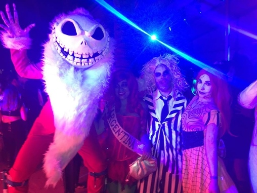 Jack, Ms. Argentina (Trump), Beetlejuice & Sally, Jack Skellington a la Sandy Claws Costume