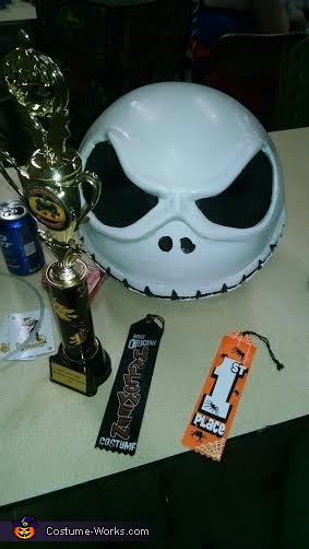 Completed head with best costume trophy, Jack the Pumpkin King Costume