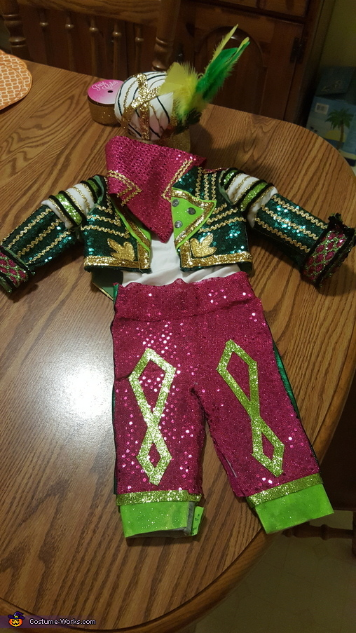 The finished outfit, Jason Kelce Mummer's Fan Costume