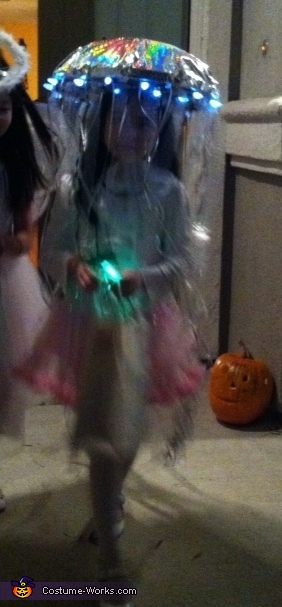 In the night..she walks with the battery operated lights on...got those 'wow & Awesome!' comments from so many parents walk by us!, Homemade Jellyfish Costume