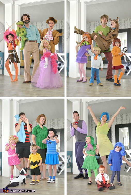 Carey family costumes from the past 4 years. The Muppets, Scooby Doo, Peanuts, Inside Out., Jim Henson & the Muppets Costume