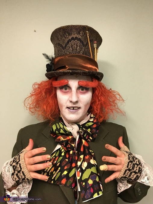 Close up photo of hands and face, Johnny Depp Mad Hatter Costume