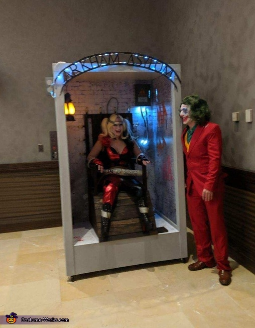 Wide shot of entire costume, Joker and Harley's Electric Chair Costume