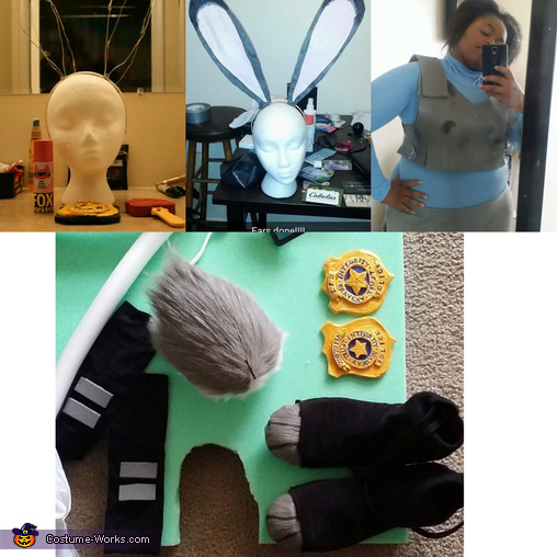 Pre-Finish Vest and Ears and Gear, Judy Hopps Costume
