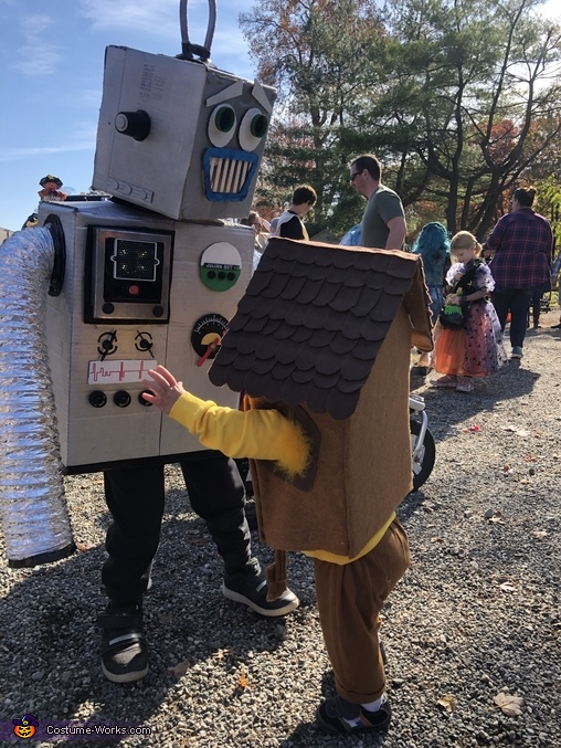 An interactive design - (his brother is trying it out!), Julianbot 1.0 Costume