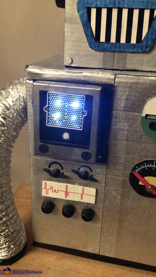 Light up board on control panel (mini light bright!) and sound button., Julianbot 1.0 Costume