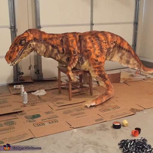Nearly finished product with spray paint, Jurassic Park Inspired Velociraptor Costume