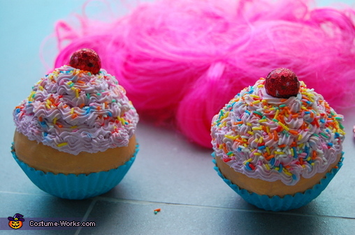 Close up of cupcakes, Katy Perry in California Gurls Costume