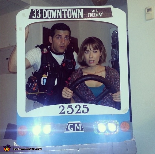 Keanu, Sandra, and the Bus from Speed Costume