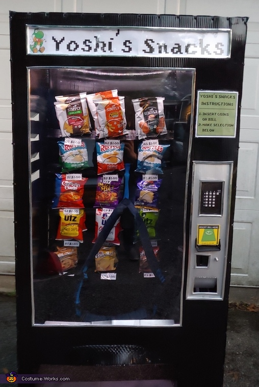 Kid stuck in a Vending Machine Homemade Costume