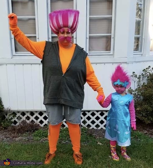King Peppy and Princess Poppy Trolls Homemade Costume