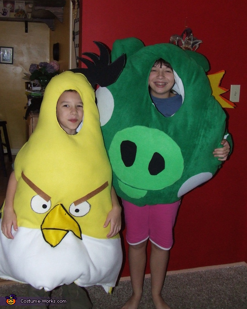 King Pig and the Angry Yellow Bird - Homemade costumes for kids