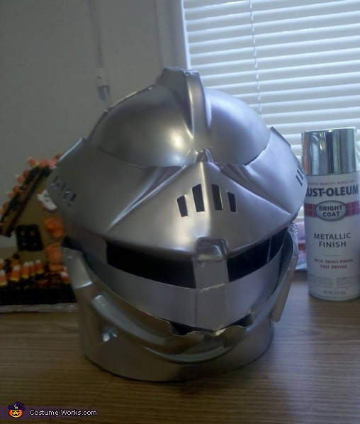 Here's the helmet before I added the feather., Knight in Shining Armor Costume