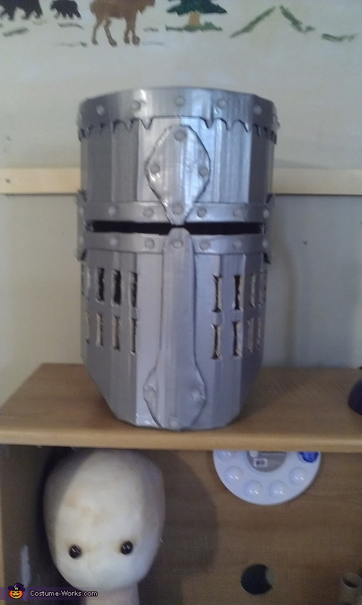 helmet before spray paint, Knight in Shining Armor Costume