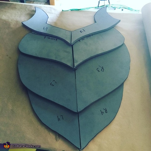 The initial cuts of Beetles chest armor, Kubo and Beetle Costume