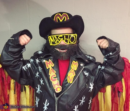 Macho Man/Randy Savage Fringe jacket and curtains, washable paint, cardboard and puffy paint!! Oooo yeah! Cream of the crop!, Kurt Cobain Costume