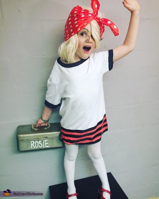 Rosie Revere Engineer White t-shirt, started to actually color in with black sharpie then realized - electrical tape for the win, Kurt Cobain Costume