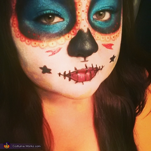 A close up of the makeup. , La Muerte Costume