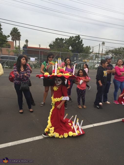 """She took it to the Fall festival school parade, La Muerte from """"The Book of Life"""" Costume"""