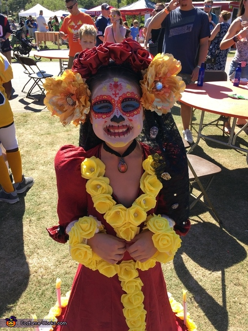 Costume with headband, La Muerte from The Book of Life Costume