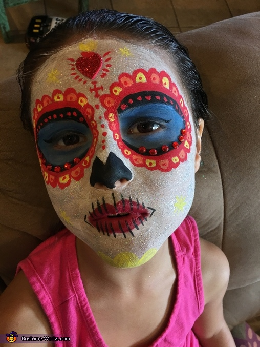 Close up of makeup, La Muerte from The Book of Life Costume