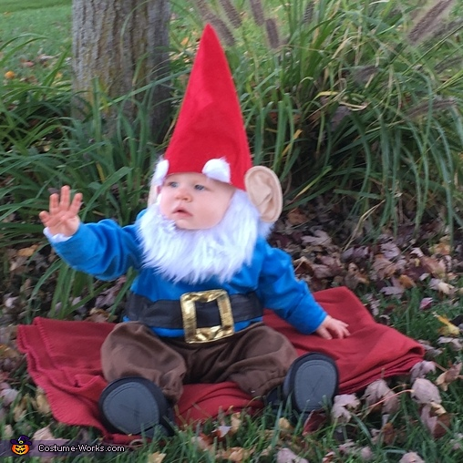 Waving at the neighbors....a friendly gnome!, Lawn Gnome Costume