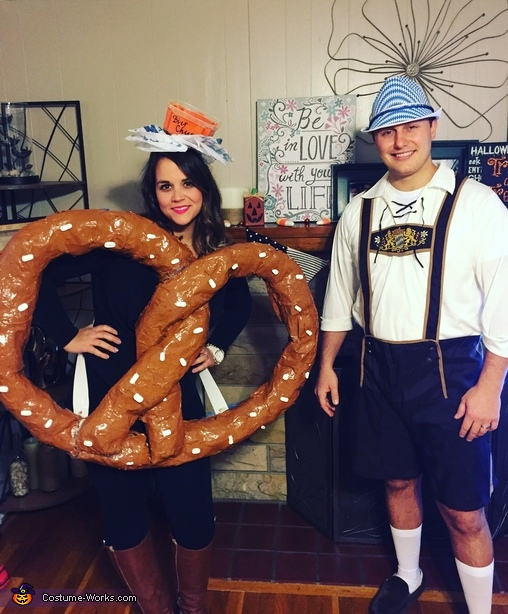 Lederhosen Man and Pretzel with Bier Cheese Costume
