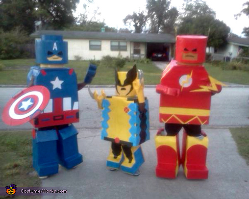 LEGO Superheroes Costume & Lego Superheroes Costumes - Wolverine Captain America and Flash