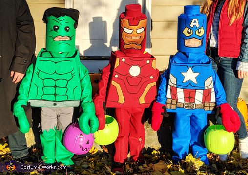 Homemade Lego Avengers - Hulk, Iron Man, and Captain America, Lego Avengers Costume