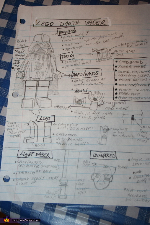 It all starts with some sketches, LEGO Darth Vader Costume