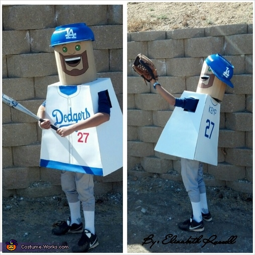 Matt Kemp lego up to bat and catching the ball to win the game!, Lego Guys Costume