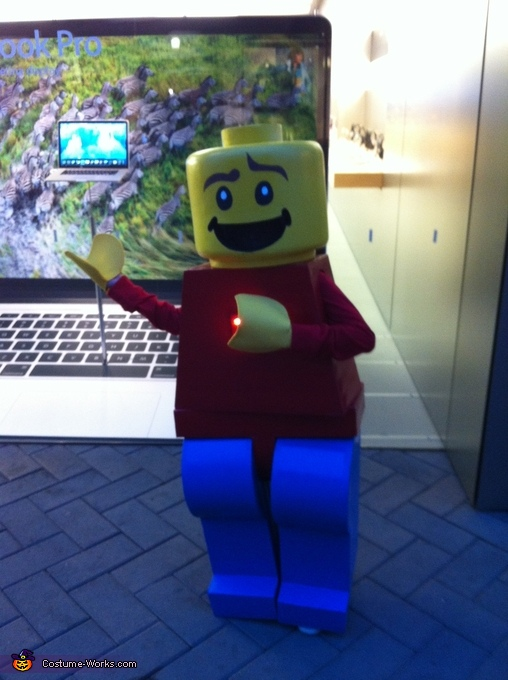 Luke in front of Apple Store, Lego Man Costume