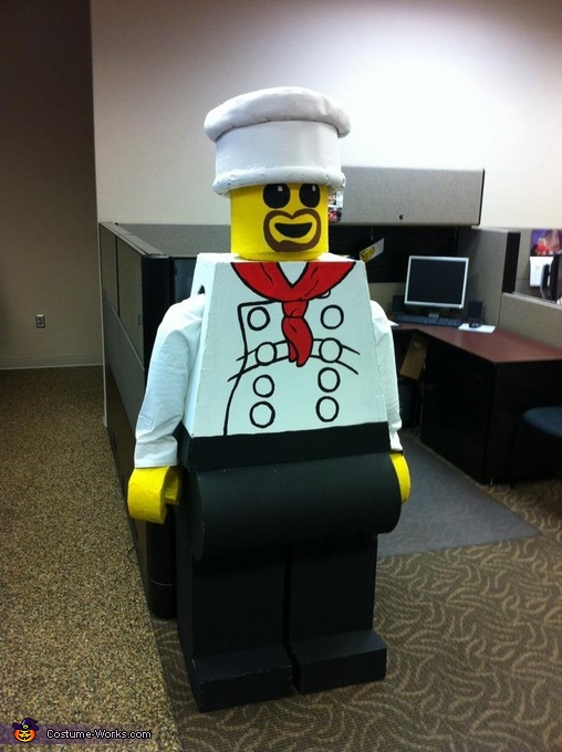Lego Man on guard duty, Lego Man Chef Costume