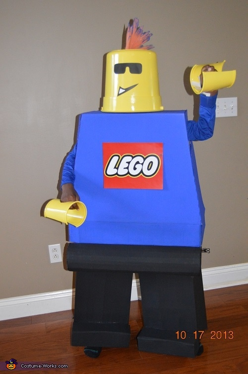 Bucket head, literally...I hated it, and decided to hand craft a more accurate depiction of the head., Lego Minifigure Costume